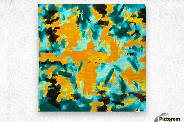splash painting texture abstract background in green and orange  Metal print