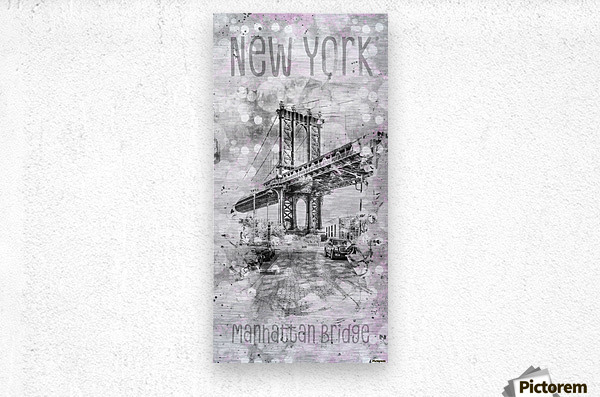 Graphic Art NEW YORK CITY Manhattan Bridge  Metal print