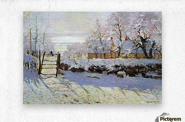 The Magpie by Monet  Metal print