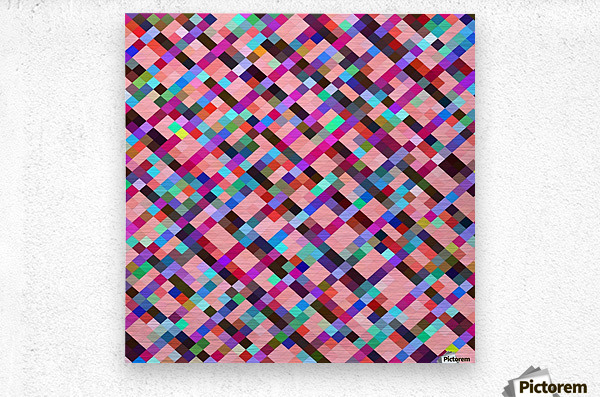 geometric pixel square pattern abstract background in pink purple blue yellow green  Metal print