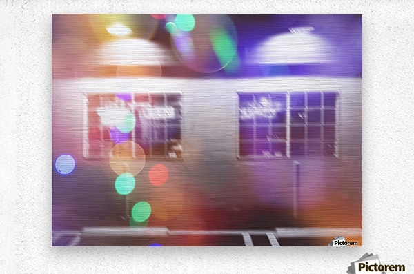 restaurant in the city with the colorful night light bokeh abstract  Metal print