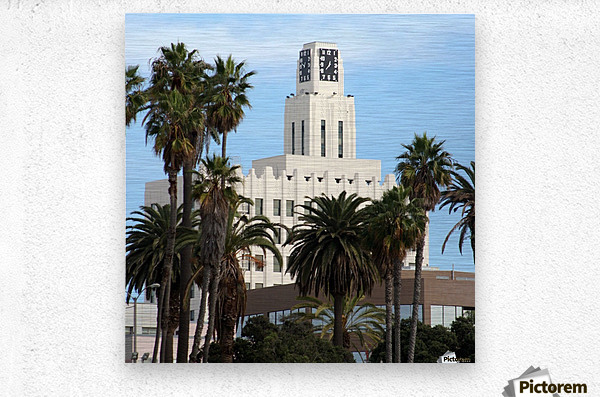 Clock Tower and Palm Trees  Metal print
