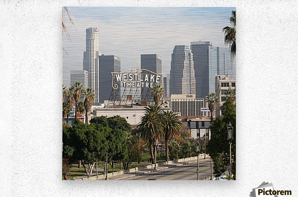 Westlake Theater to Los Angeles - Square  Metal print