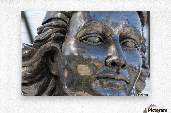 Face of Dolores Del Rio Silver Statue  Metal print