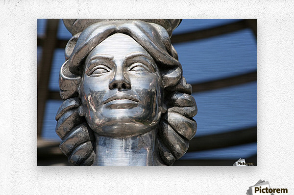 Silver Statue Face of Dorothy Dandridge  Metal print