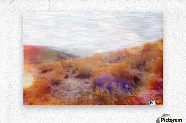 yellow flower field on the mountain with summer light bokeh abstract  Metal print