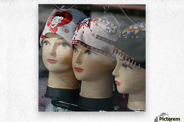 Three Mannequin Heads with Bandanas  Metal print