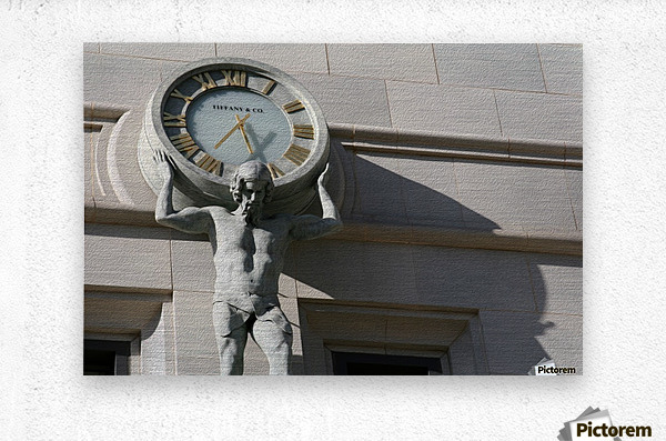 Man Holding Tiffany Clock  Metal print
