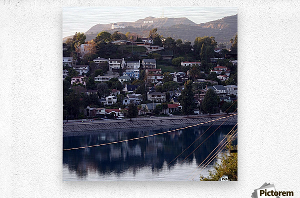 Silver Lake Reservoir with Griffith Observatory  Metal print