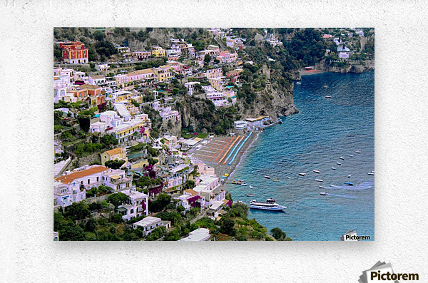 Aerial view of Positano Beach - Italy  Metal print
