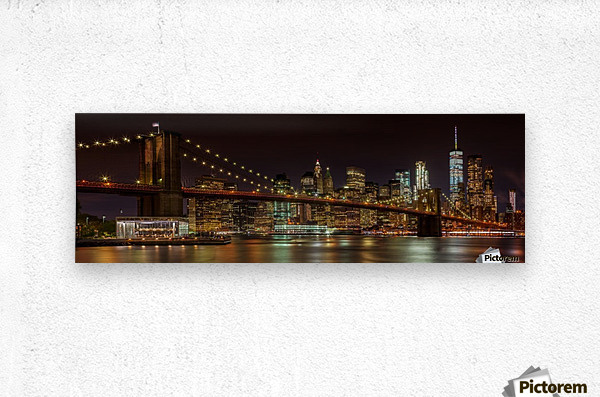 MANHATTAN SKYLINE & BROOKLYN BRIDGE Idyllic Nightscape | Panoramic   Metal print