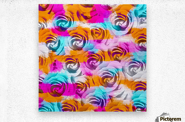 closeup rose texture pattern abstract background in pink orange blue  Metal print