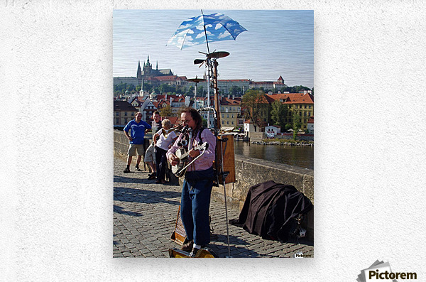 Charles Bridge Prague Street Musician  Metal print