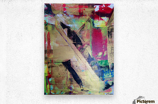 Trieste a Red and Gold Abstract painting  Metal print