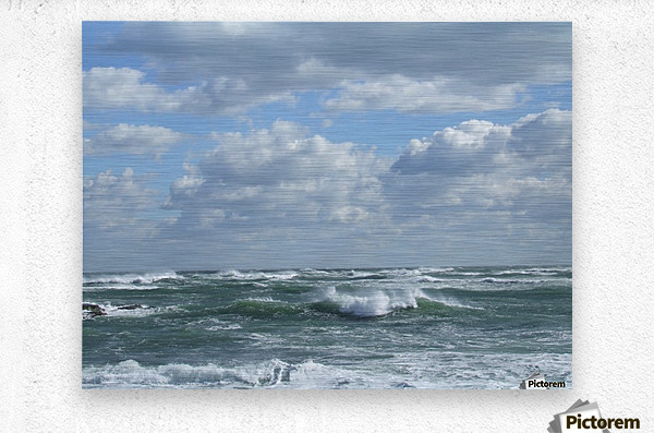 Clouds and Big waves  Newport RI.   Metal print