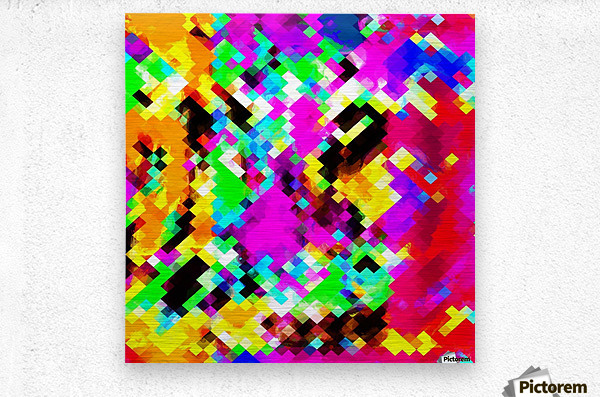 psychedelic geometric pixel abstract pattern in pink purple blue green yellow  Metal print