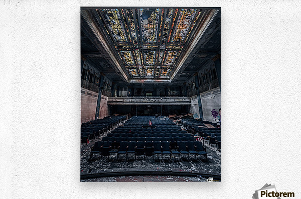Decaying Blue Auditorium  Metal print