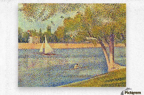 The Seine at the Grand Jatte, Spring by Seurat  Metal print