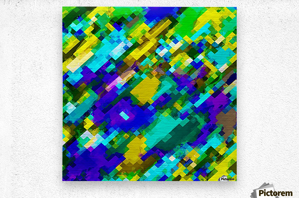 psychedelic geometric square pixel pattern abstract in green yellow blue purple  Metal print
