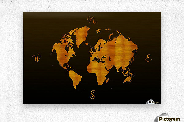 MODERN GRAPHIC ART World Map |  | Redgold  Metal print
