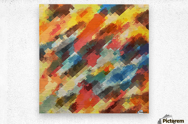 psychedelic camouflage geometric pixel square pattern abstract in orange yellow blue  Metal print