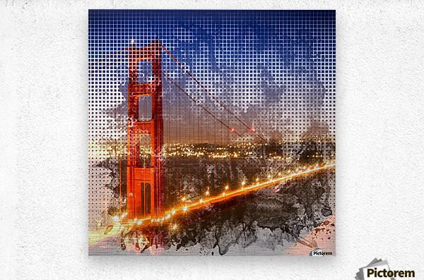 Graphic Art Golden Gate Bridge | watercolour style  Metal print