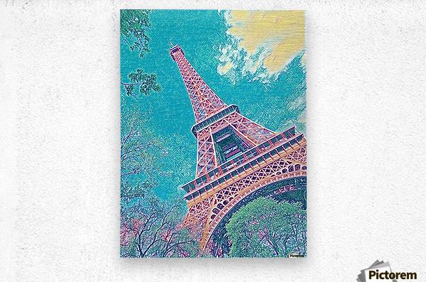 Eiffel Tower- Teal  Metal print