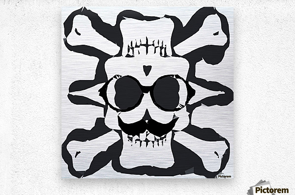 old funny skull and bone art portrait in black and white  Metal print