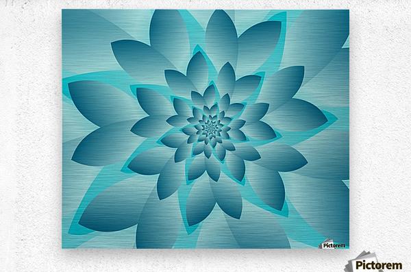 Modern Optical Illusion Floral Art  Metal print