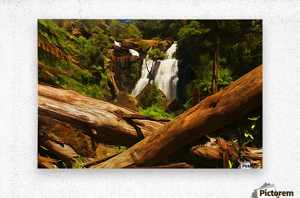 Tree Trees Fallen accross a Stream and Waterfall Digital Painting C010300_1114915  Metal print
