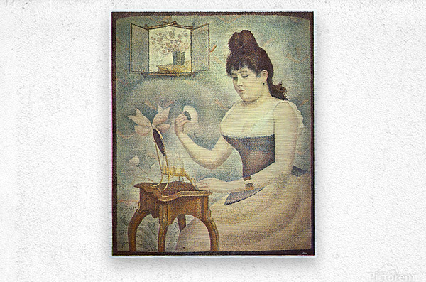 The woman with the powder puff by Seurat  Metal print