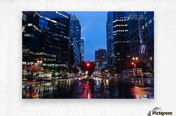 Pluie au centre ville  Metal print