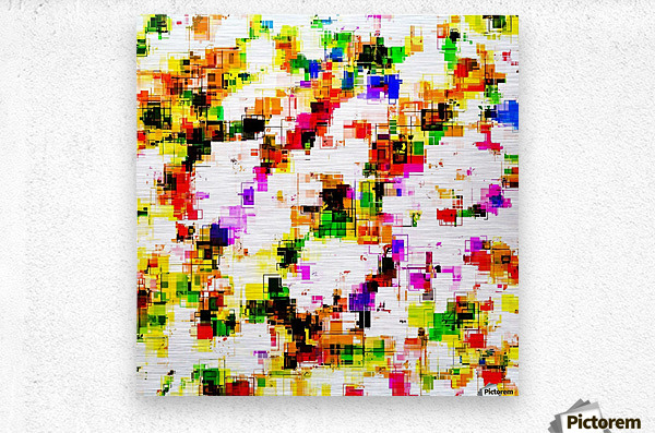 psychedelic geometric square pixel pattern abstract background in green red pink yellow  Metal print