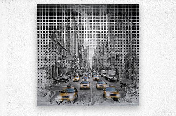 Graphic Art NEW YORK CITY 5th Avenue Traffic  Metal print