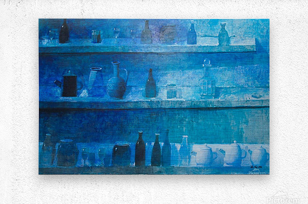 Still Life in Blue  Metal print