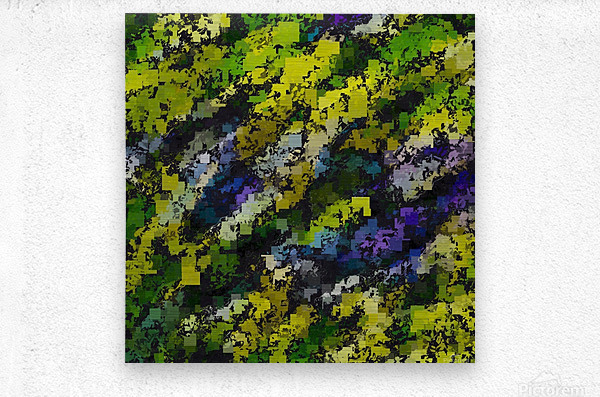 psychedelic geometric square pixel pattern abstract background in yellow blue black  Metal print
