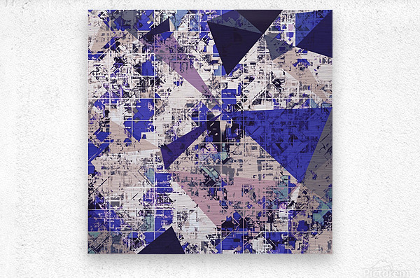 psychedelic geometric triangle polygon pattern abstract in blue and pink  Metal print
