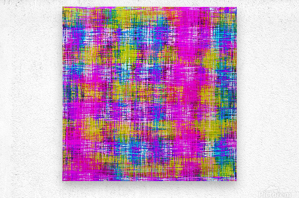 plaid pattern painting texture abstract background in pink purple blue yellow  Metal print