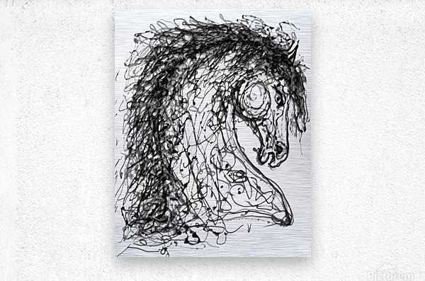''Horse''  Inspired by Dripped Abstract Pollock Style   Metal print