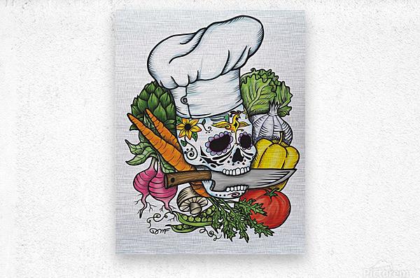 Dia de los Muertos Chef  Metal print