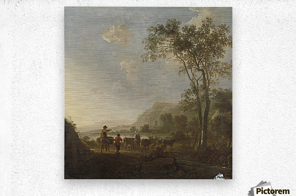 Landscape with herdsman and cattle  Metal print