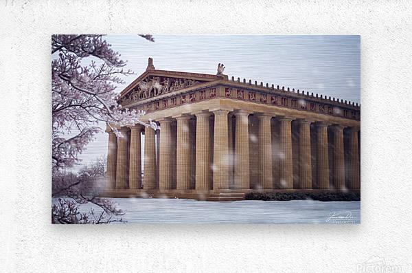 Parthenon in Nashville during winter  Metal print