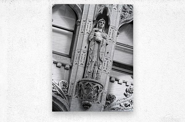 Caped Woman in Stone - B&W  Metal print