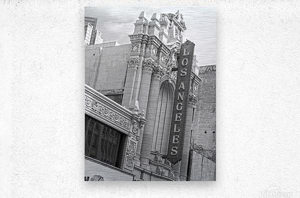 Vintage Los Angeles Theatre Sign - B&W  Metal print