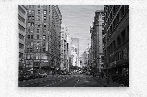 7th & Broadway DTLA - B&W  Metal print
