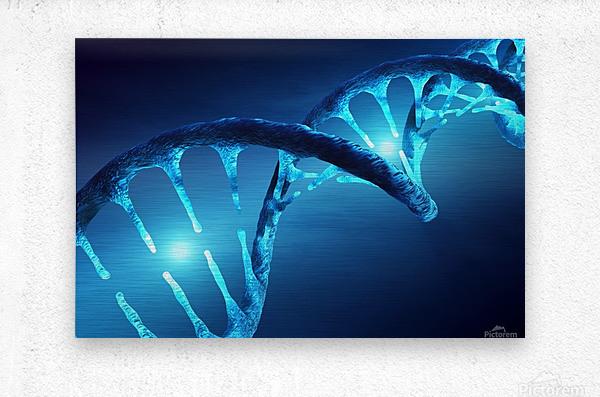 DNA structure illuminated  Metal print