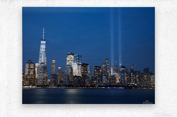 911 Memorial Lights NYC skyline  Metal print