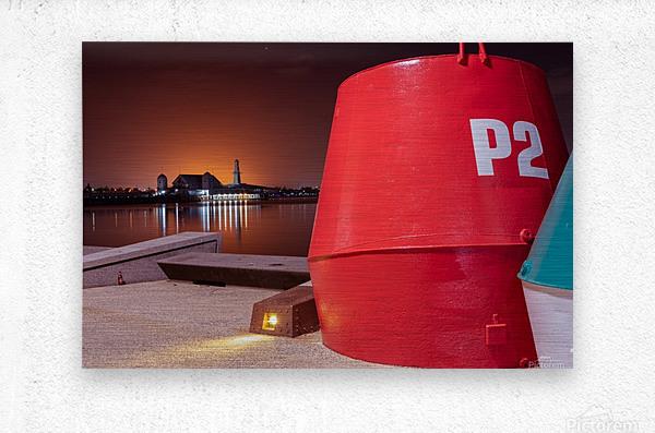 Orange lights with Geelong Pier and Buoys  Metal print
