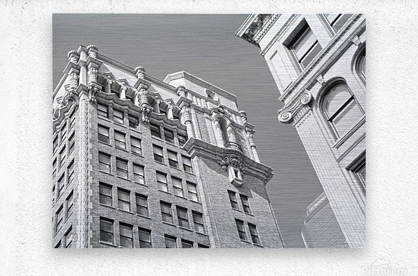 DTLA South Broadway & West 3rd - B&W  Metal print