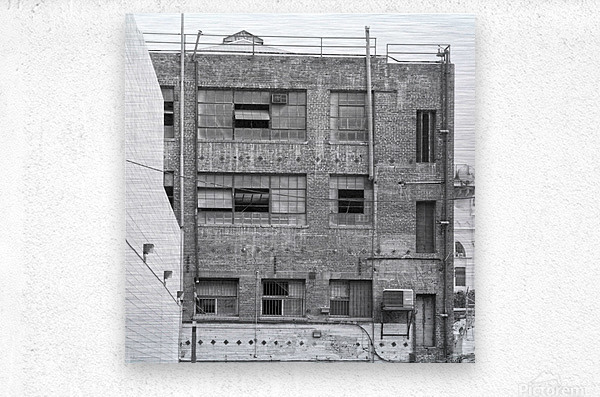 B&W Brick & Windows In Alley - DTLA   Metal print